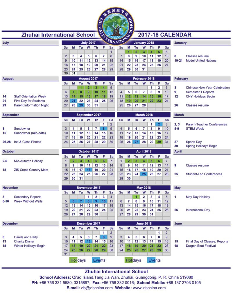 ZIS Calendar 2017-18
