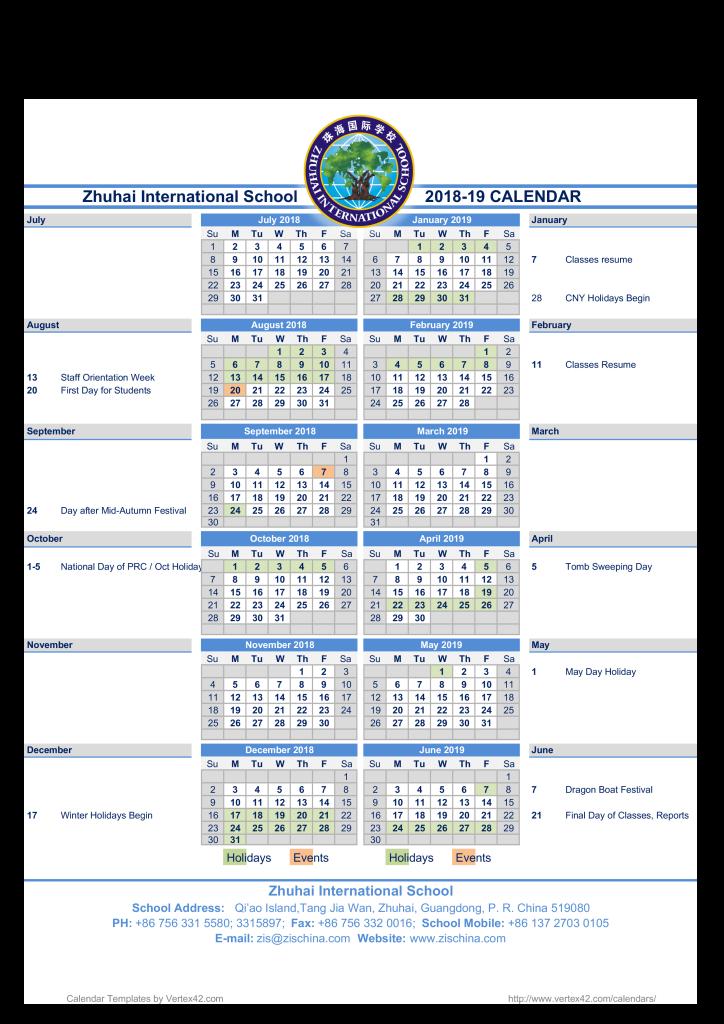 ZIS Calendar 2018-19