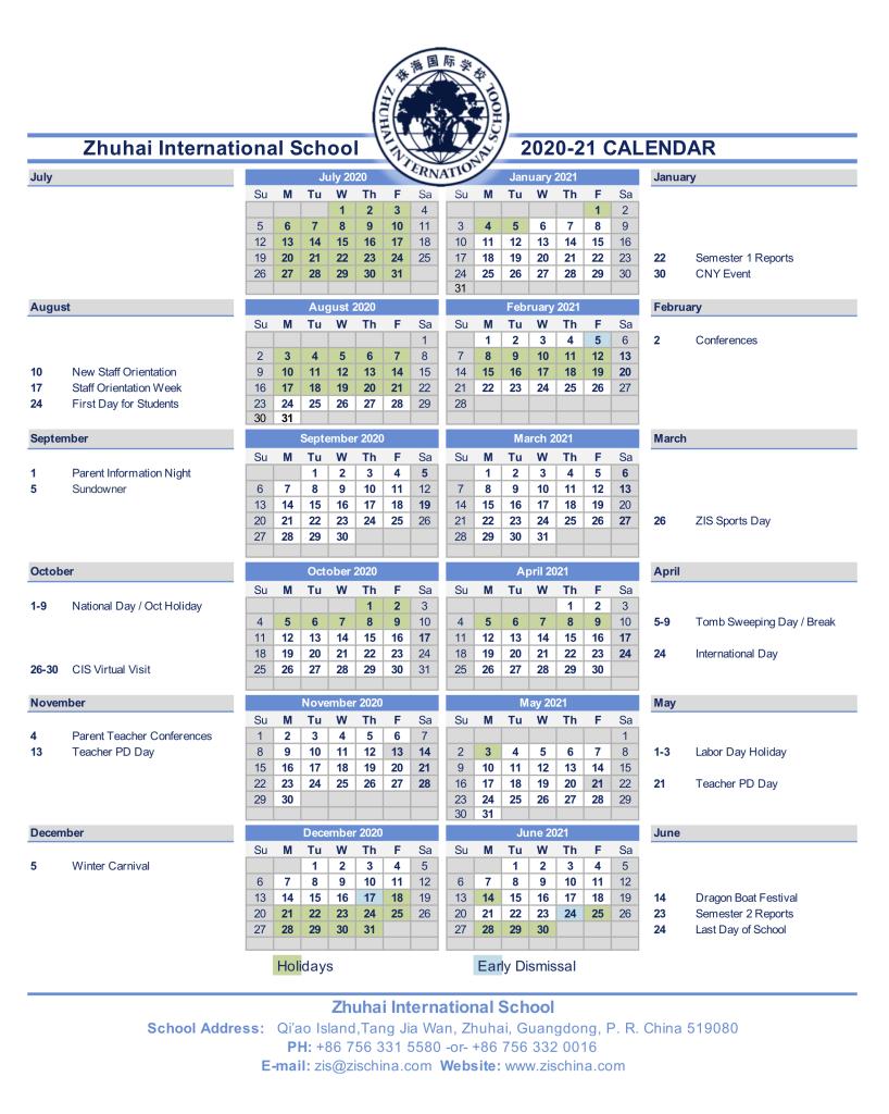 ZIS Calendar 2020-21