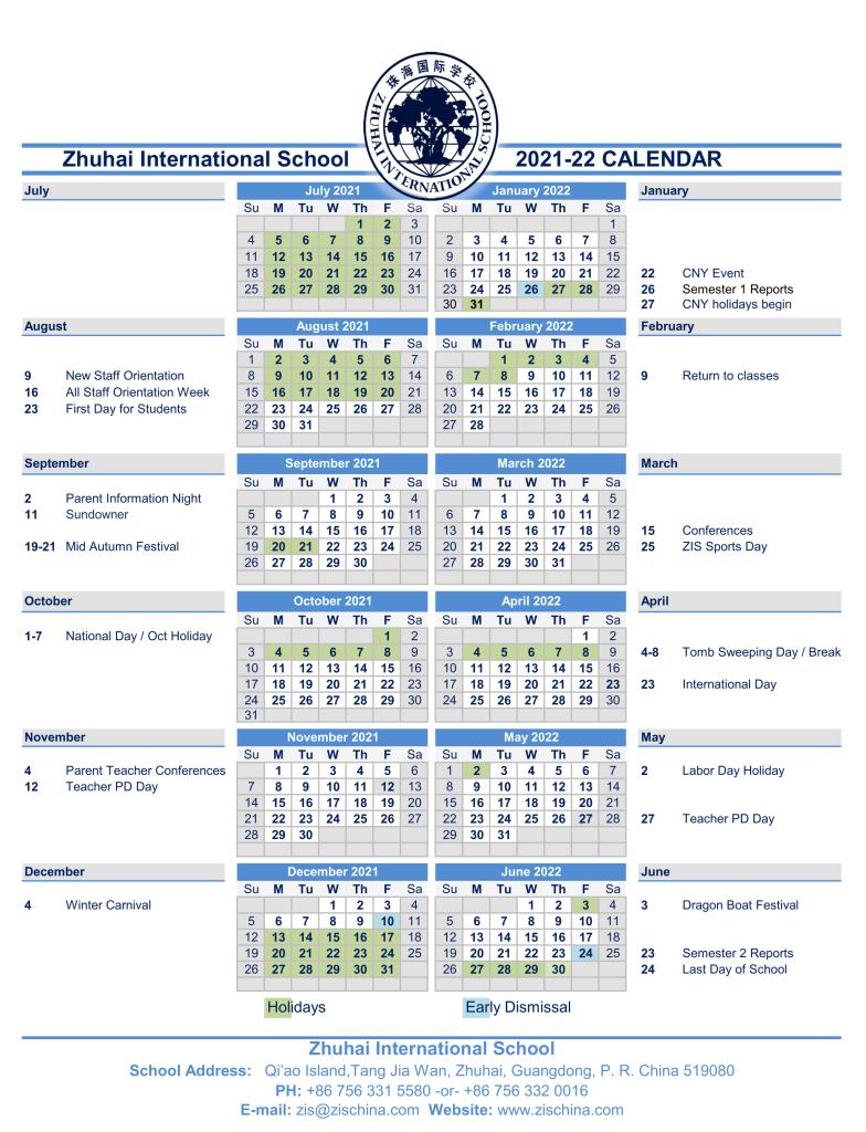 ZIS Calendar 2021-22